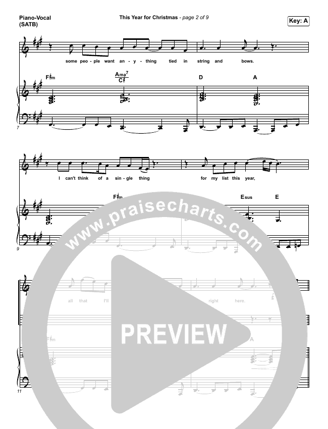 This Year For Christmas Piano/Vocal (SATB) (Phil Wickham)