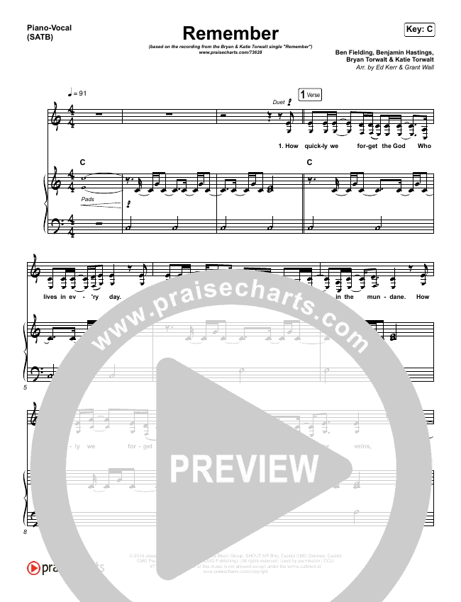 Remember Piano/Vocal (SATB) (Bryan & Katie Torwalt)