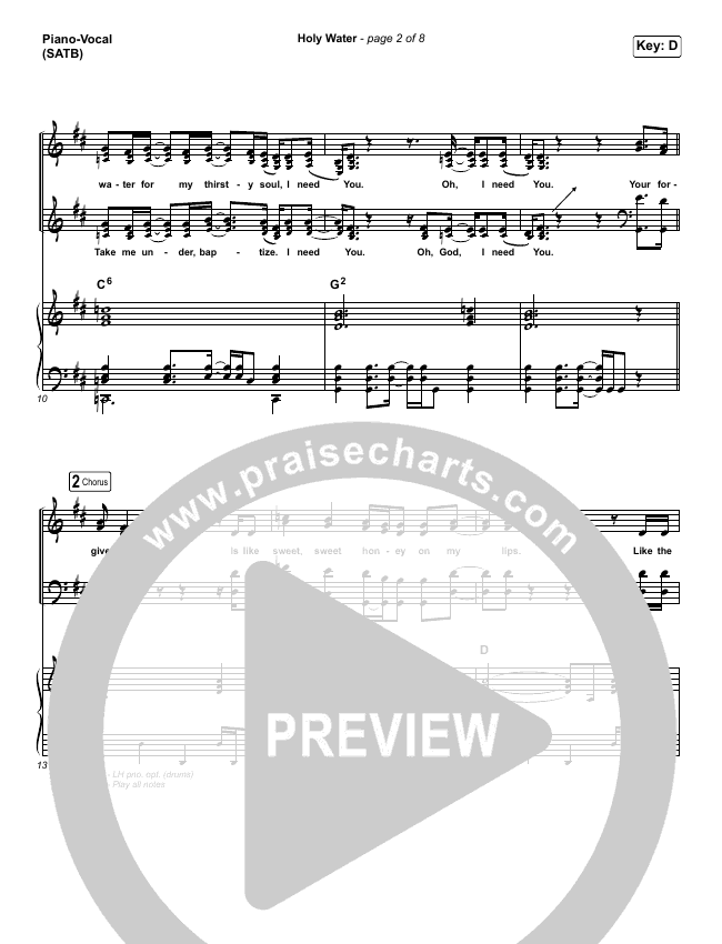 Holy Water Piano/Vocal (SATB) (We The Kingdom)