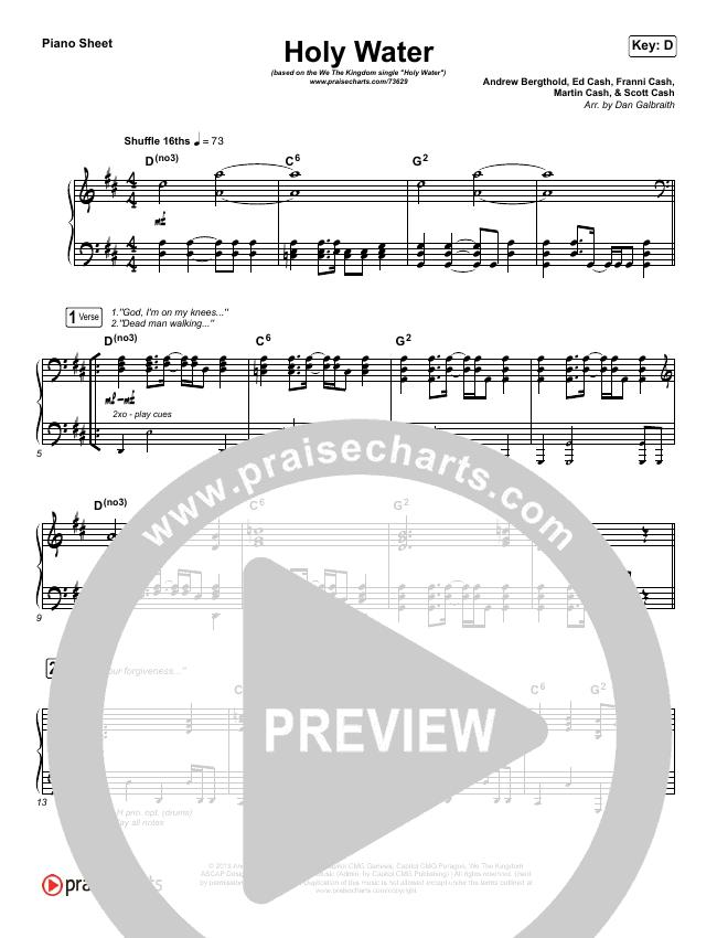 Holy Water Piano Sheet (We The Kingdom)