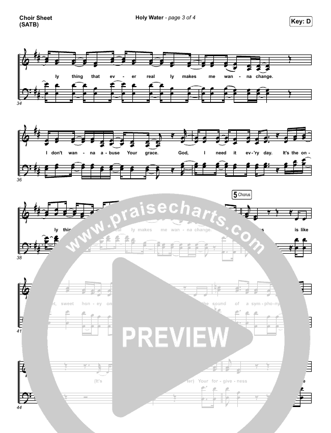 Holy Water Choir Sheet (SATB) (We The Kingdom)