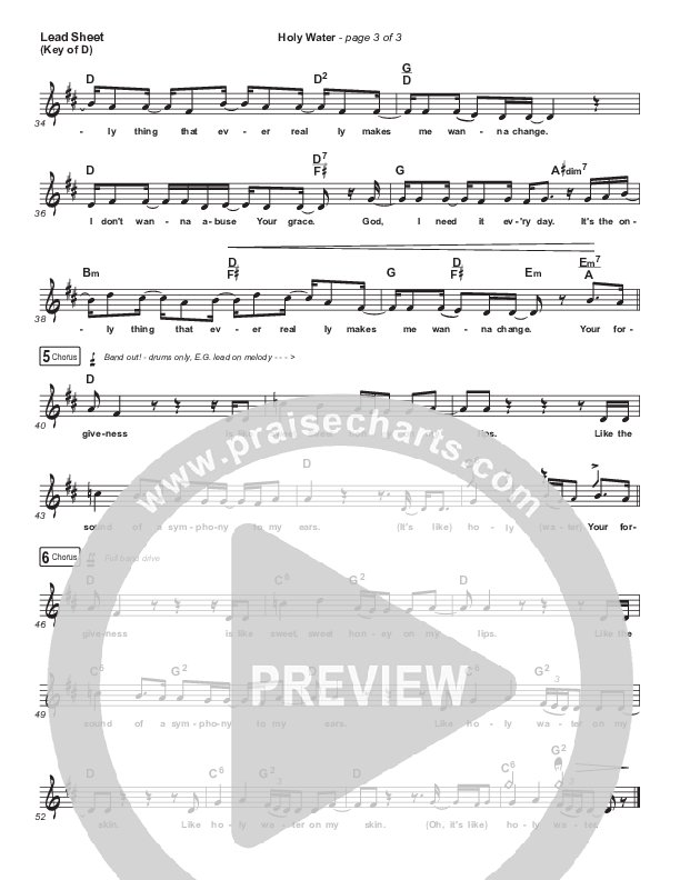Holy Water Lead Sheet (Melody) (We The Kingdom)