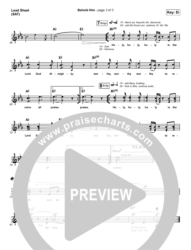 Behold Him Lead & Piano/Vocal (Paul Baloche / Kim Walker-Smith)