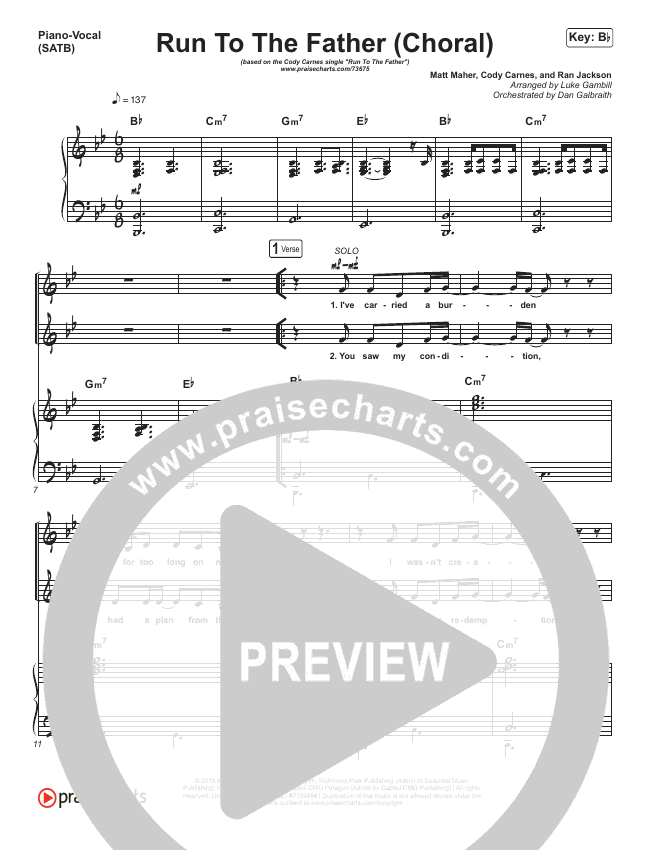 Run To The Father (Choral) Orchestration (PraiseCharts Choral / Cody Carnes)