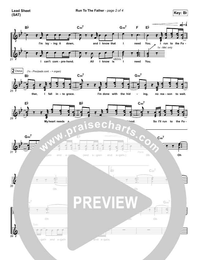 Run To The Father (Choral) Piano/Vocal (SATB) (PraiseCharts Choral / Cody Carnes)