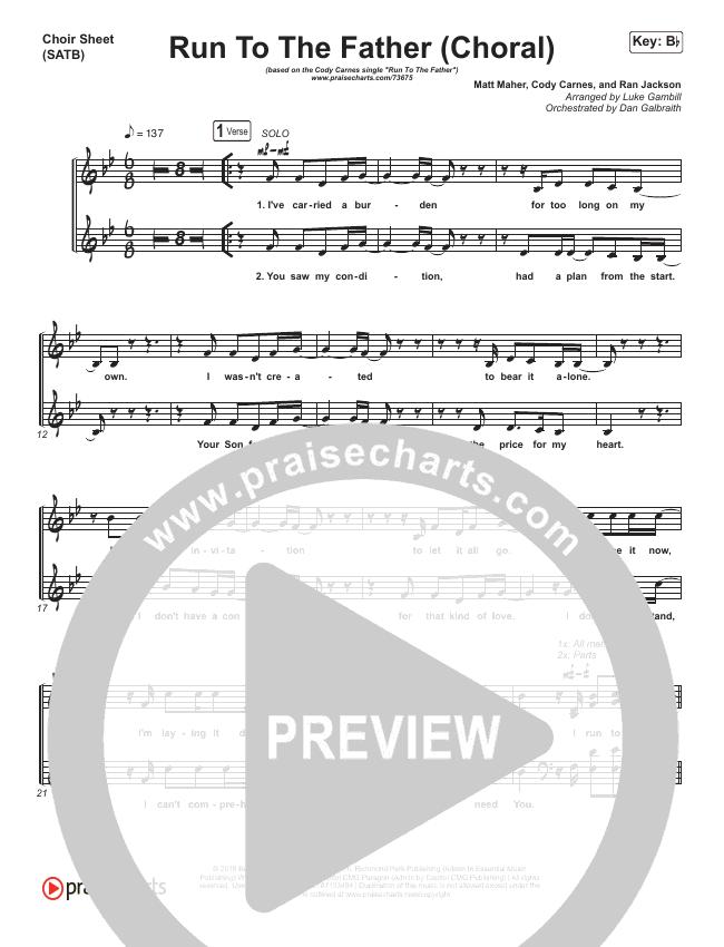 Run To The Father (Choral) Choir Sheet (SATB) (PraiseCharts Choral / Cody Carnes / Arr. Luke Gambill)