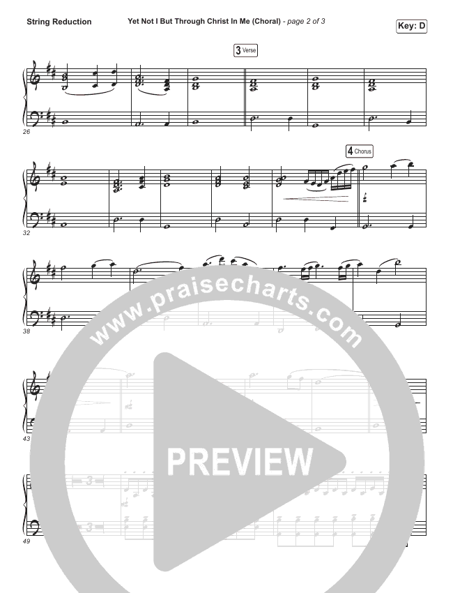 Yet Not I But Through Christ In Me (Choral) String Pack (PraiseCharts Choral / CityAlight / Arr. Luke Gambill)