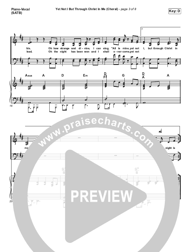 Yet Not I But Through Christ In Me (Choral) Piano/Vocal (SATB) (PraiseCharts Choral / CityAlight)