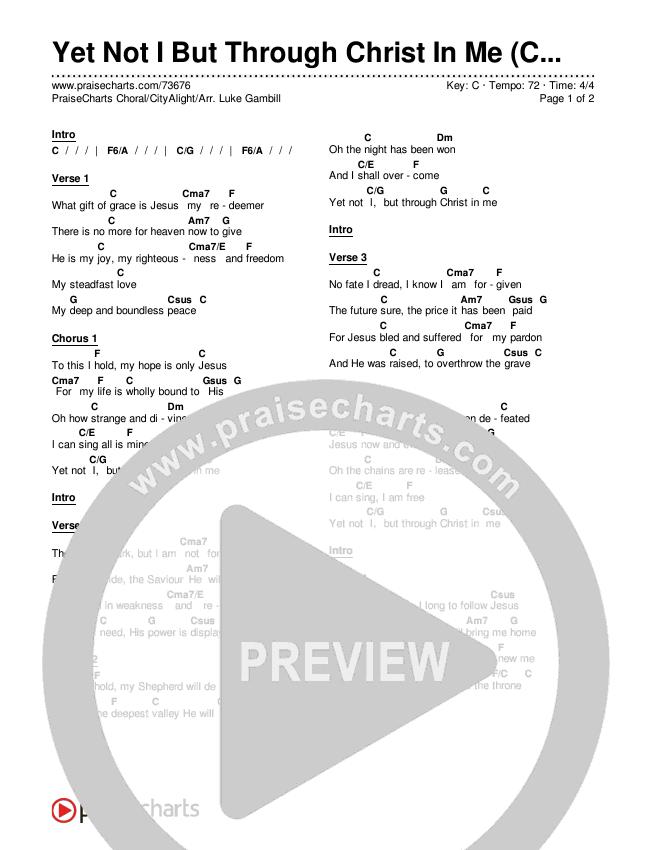 Yet Not I But Through Christ In Me (Choral) Chords & Lyrics (PraiseCharts Choral / CityAlight)
