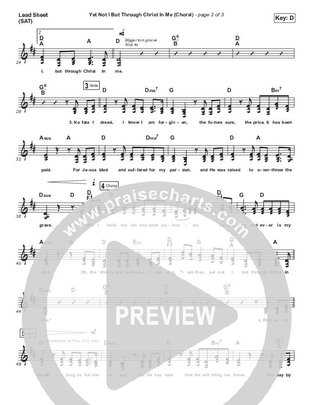 Yet Not I But Through Christ In Me (Choral) Lead Sheet (SAT) (PraiseCharts Choral / CityAlight / Arr. Luke Gambill)