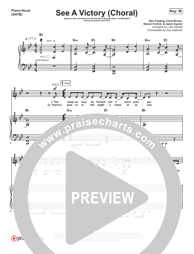 See A Victory (Choral) Orchestration (PraiseCharts Choral / Elevation Worship / Arr. Luke Gambill)