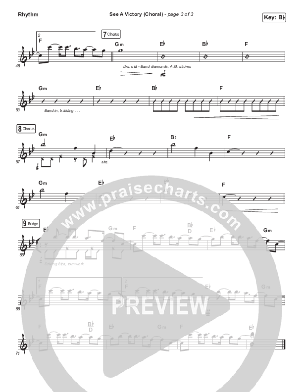 See A Victory (Choral) Rhythm Chart (PraiseCharts Choral / Elevation Worship / Arr. Luke Gambill)