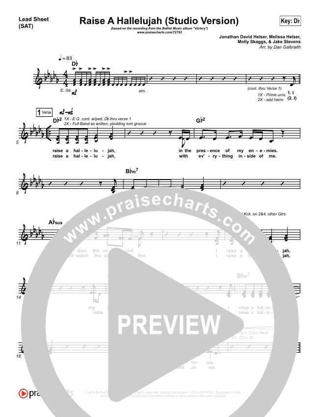 Raise A Hallelujah (Studio) (Choral) Lead Sheet (SAT) (PraiseCharts Choral / Bethel Music / Arr. Luke Gambill)