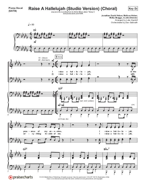 Raise A Hallelujah (Studio) (Choral) Piano/Vocal (SATB) (PraiseCharts Choral / Bethel Music / Arr. Luke Gambill)