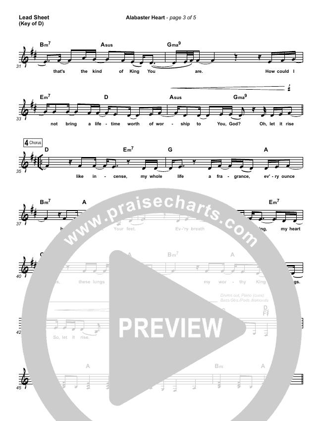 Alabaster Heart (Live) Lead Sheet (Melody) (kalley / Bethel Music)