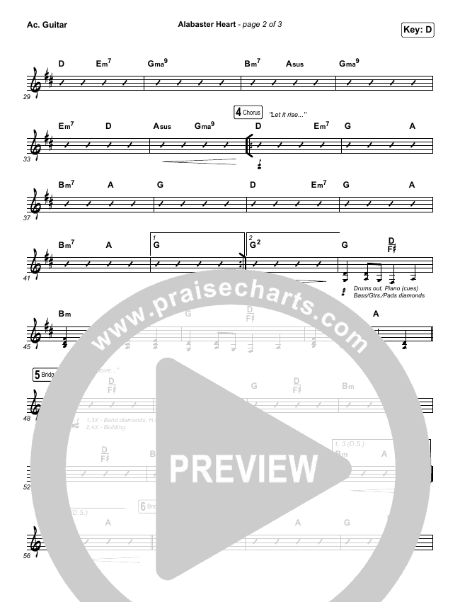 Alabaster Heart (Live) Rhythm Chart (kalley / Bethel Music)