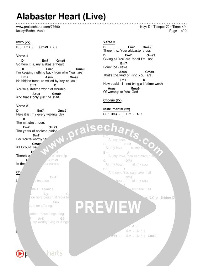 Alabaster Heart (Live) Chords & Lyrics (kalley / Bethel Music)