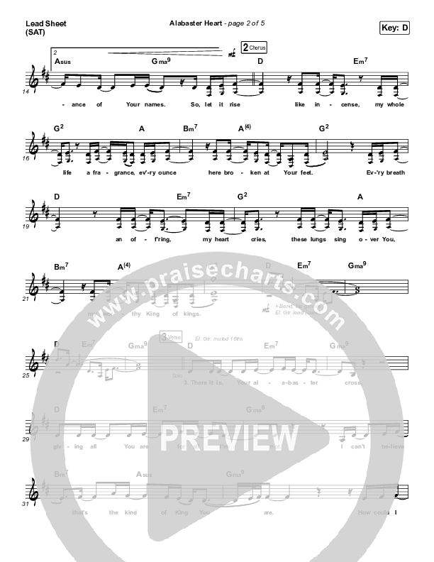 Alabaster Heart (Live) Lead Sheet (SAT) (kalley / Bethel Music)