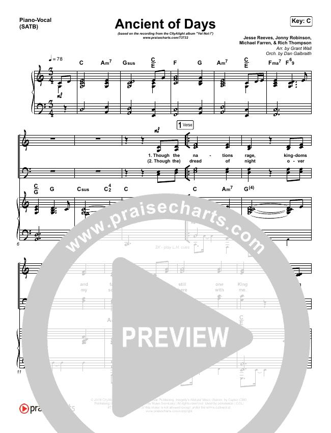Ancient Of Days Piano/Vocal (SATB) (CityAlight)