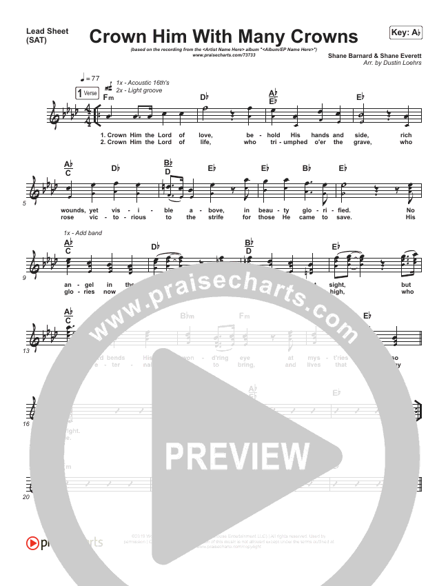 Crown Him With Many Crowns Lead Sheet (SAT) (Shane & Shane/The Worship Initiative)