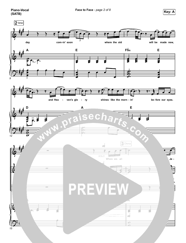 Face To Face Piano/Vocal (SATB) (Zach Williams)