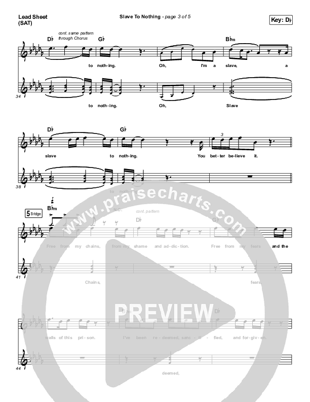 Slave To Nothing Lead Sheet (SAT) (Zach Williams)