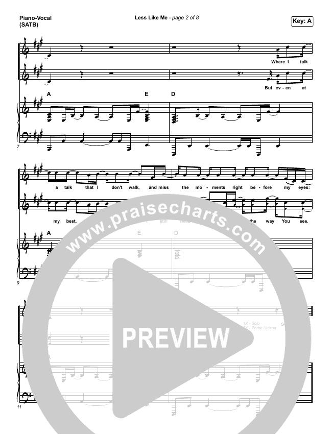 Less Like Me Piano/Vocal (SATB) (Zach Williams)