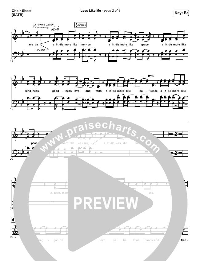 Less Like Me Choir Sheet (SATB) (Zach Williams)