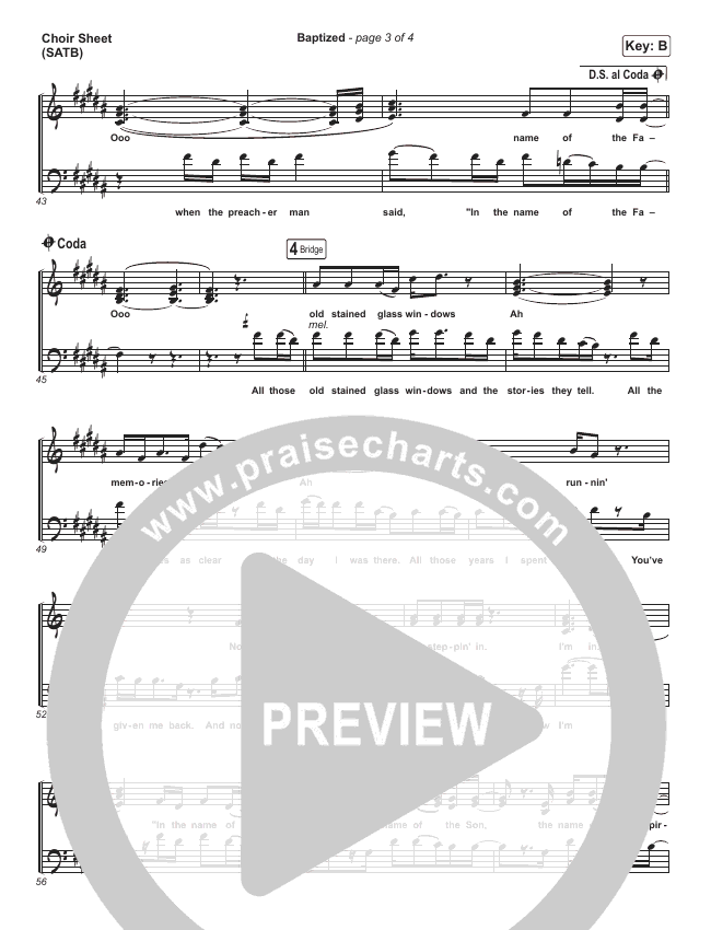 Baptized Choir Sheet (SATB) (Zach Williams)
