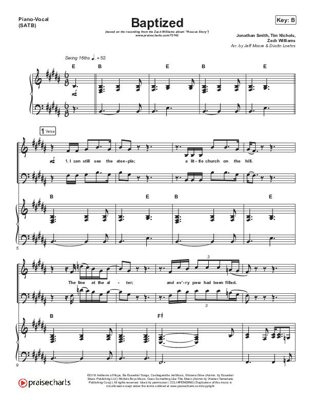 Baptized Piano/Vocal (SATB) (Zach Williams)