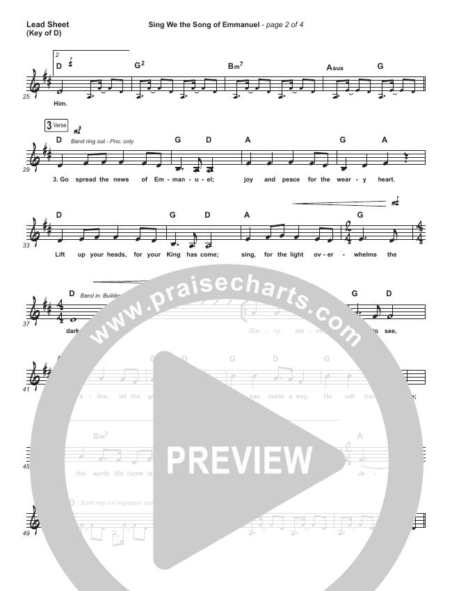 Sing We The Song Of Emmanuel Lead Sheet (Melody) (Matt Boswell / Matt Papa)