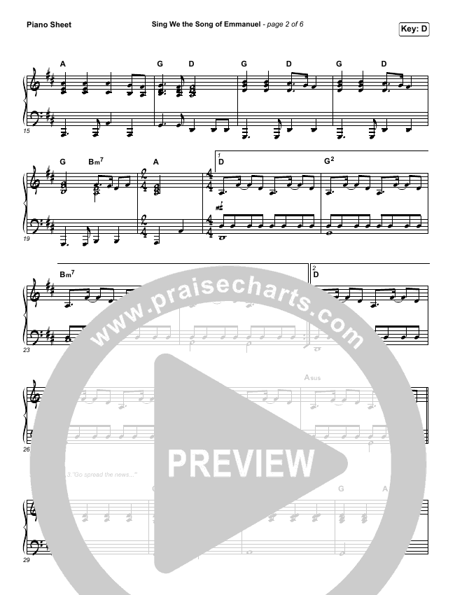Sing We The Song Of Emmanuel Piano Sheet (Matt Boswell / Matt Papa)