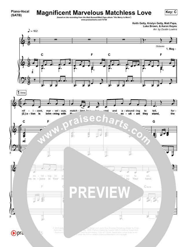 Magnificent Marvelous Matchless Love Piano/Vocal (SATB) (Matt Boswell / Matt Papa)