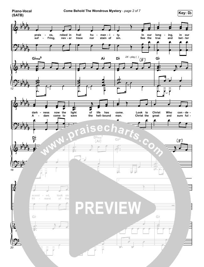 Come Behold The Wondrous Mystery Piano/Vocal (SATB) (Matt Boswell / Matt Papa / Kristyn Getty)