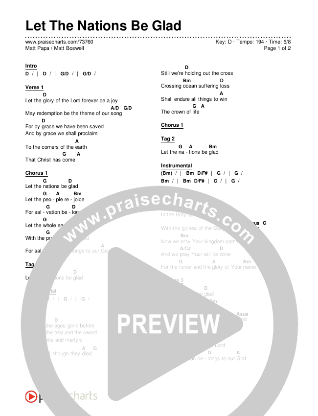 Let The Nations Be Glad Chords & Lyrics (Matt Boswell / Matt Papa)