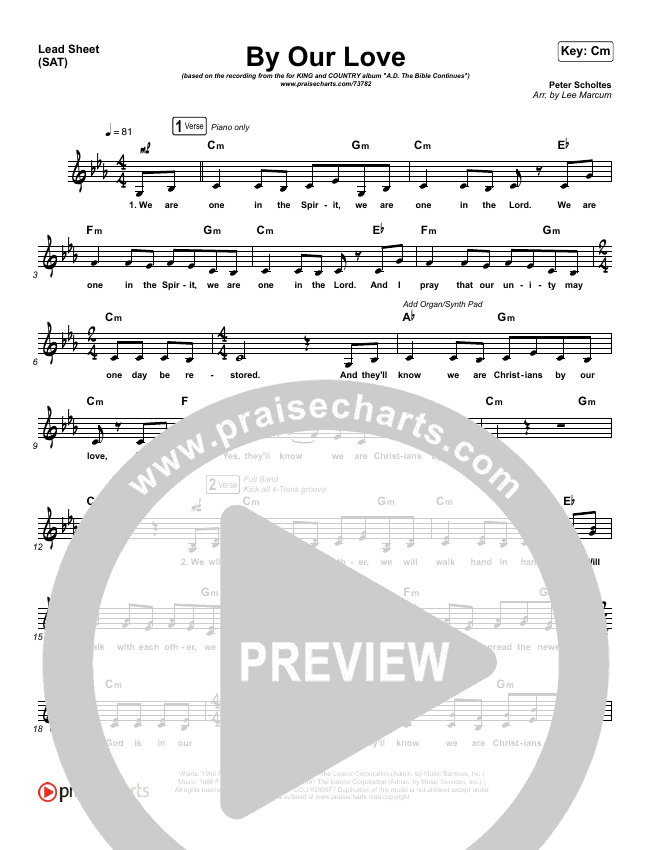 By Our Love Lead Sheet (SAT) (for KING & COUNTRY)