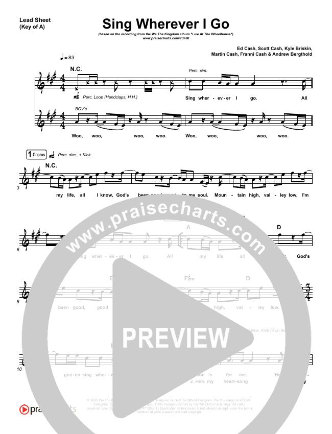 Sing Wherever I Go Lead Sheet (Melody) (We The Kingdom)