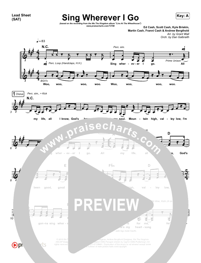 Sing Wherever I Go Piano/Vocal Pack (We The Kingdom)