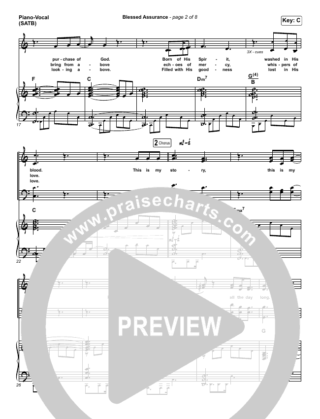 Blessed Assurance Piano/Vocal (SATB) (Jeremy Riddle)