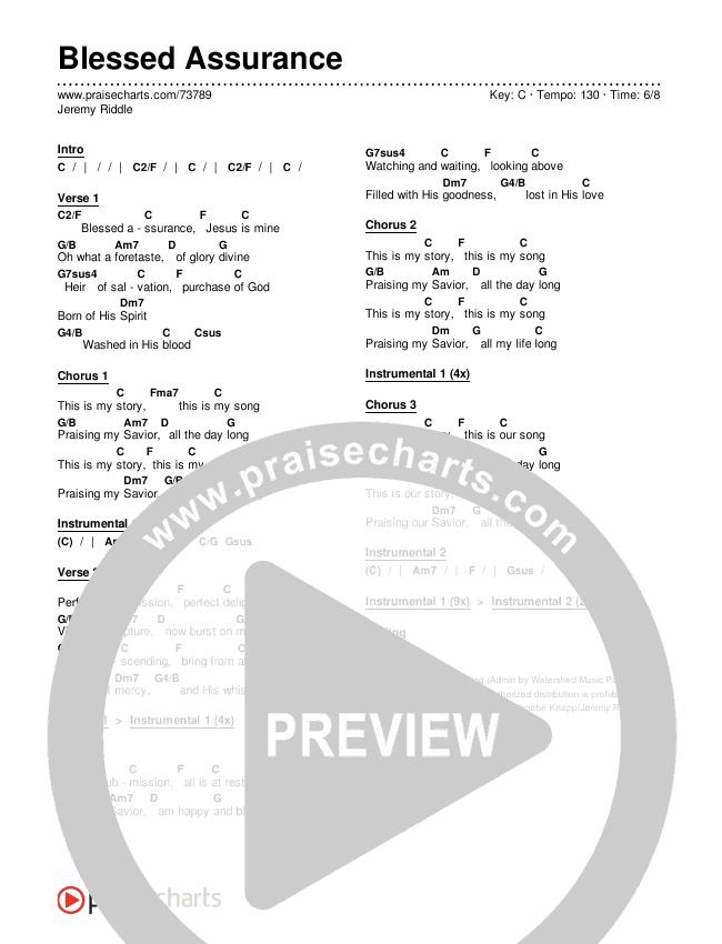 Blessed Assurance Chords & Lyrics (Jeremy Riddle)