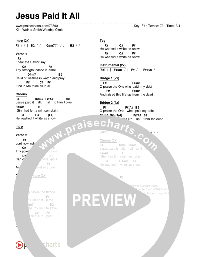 Jesus Paid It All Chords & Lyrics (Kim Walker-Smith / Worship Circle)