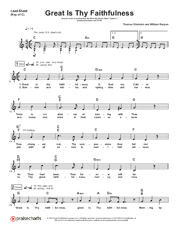 Great Is Thy Faithfulness Lead Sheet (Melody) (Christy Nockels)