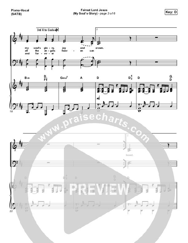 Fairest Lord Jesus (My Soul's Glory) Piano/Vocal (SATB) (Paul Baloche)