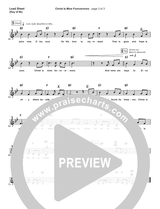 Christ Is Mine Forevermore Lead Sheet (Melody) (CityAlight)