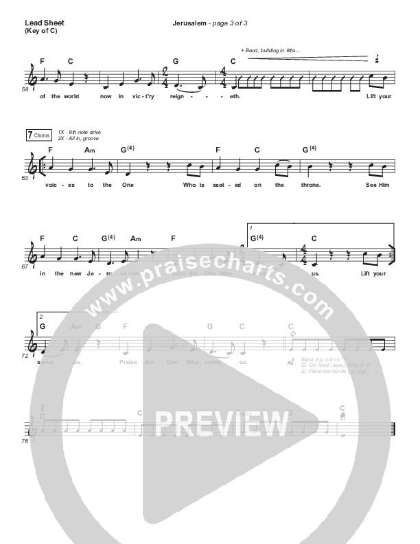 Jerusalem Lead Sheet (Melody) (CityAlight)