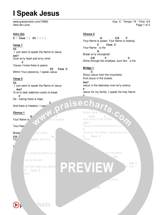 I Speak Jesus Chord Chart (Here Be Lions)