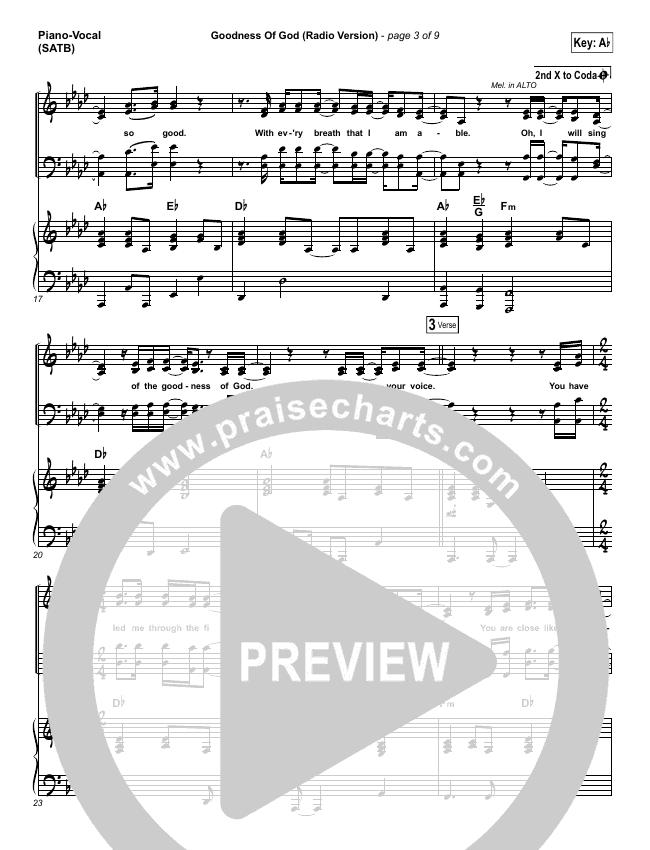 Goodness Of God (Radio) Piano/Vocal (SATB) (Jenn Johnson / Bethel Music)