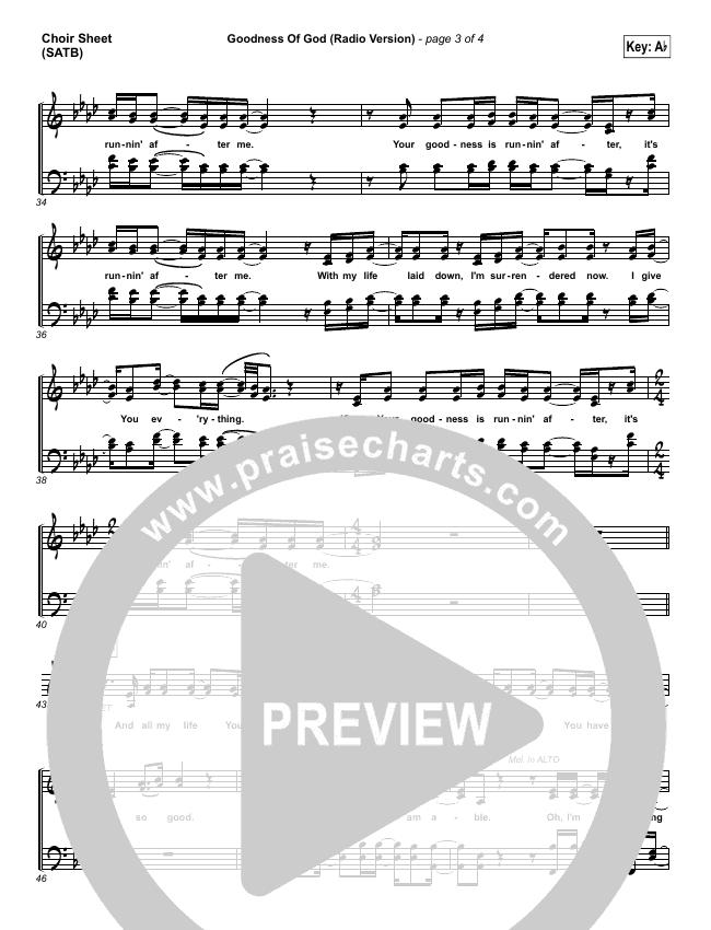 Goodness Of God (Radio) Choir Sheet (SATB) (Jenn Johnson / Bethel Music)