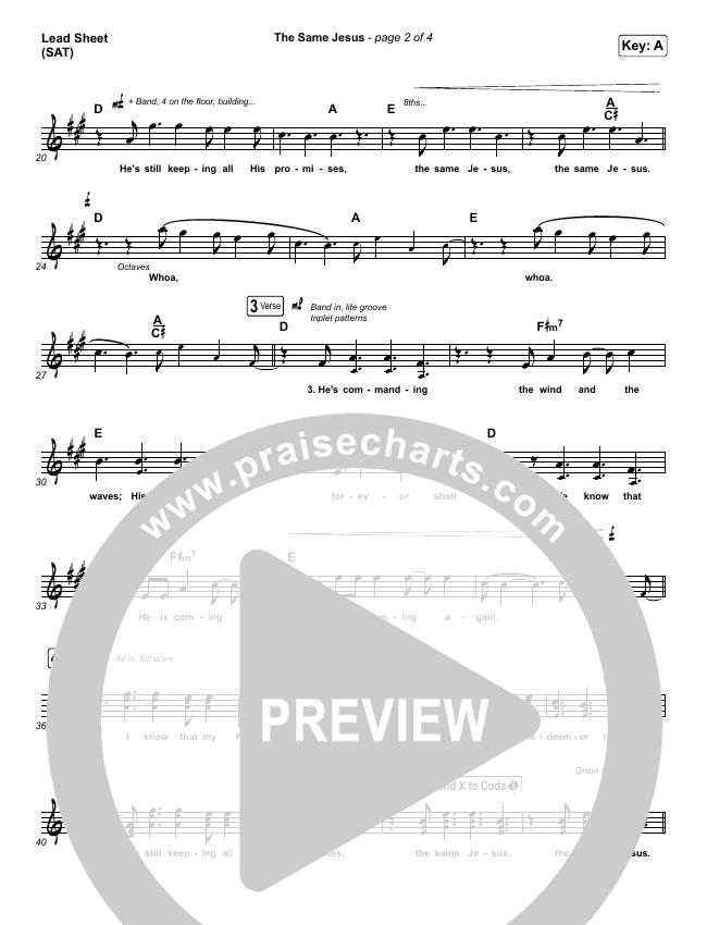 The Same Jesus (Single) Lead Sheet (SAT) (Matt Redman)