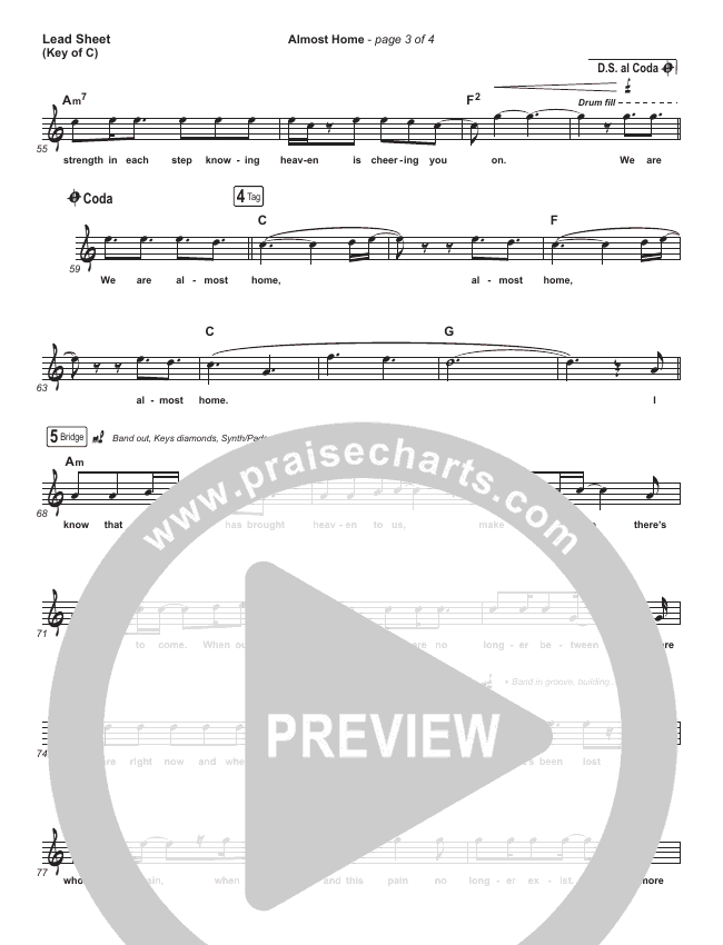 Almost Home Lead Sheet (Melody) (MercyMe)